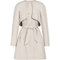 Martin Grant Long Sleeve Trench Coat ($2,235) ❤ liked on Polyvore featuring outerwear, coats, short full skirt, trench coat, cotton coat, collarless trench coat and short trench coat