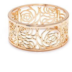 Forever 21 Filigree Floral Cutout Bracelet ($5.90) ❤ liked on Polyvore featuring jewelry, bracelets, forever 21 bangle, cicret bracelet, pandora jewelry, bracelet jewelry and floral bangle