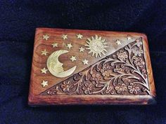 Moon and Stars Wooden Jewelry Box