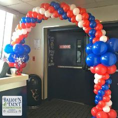 Cruise Ship Balloons | blue balloon arch, american flag balloons, and other patriotic balloon ...