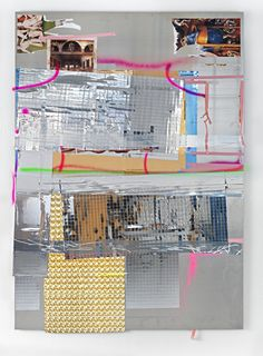 Isa Genzken Abendmahl, 2008 Aluminum plate, mirror foil, spray-paint, tape, colour print on paper  194 x 138.5 cm / 76 3/8 x 54 1/2 in