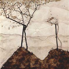 Egon Schiele, Soleil d'automne et arbres (1912)