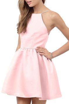 Pink Spaghetti Strap Open Back Flare Dress PINK: Mini Dresses   ZAFUL