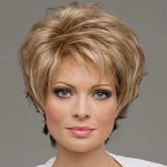 Fashion New womens womens Cut Hairstyle Synthetic Wigs Short Hair Curly Brown Wigs with Bangs for Women Wig Cap Perruque Natur Short Human Hair Wigs, Short Curly Hair, Short Hair Cuts, Curly Hair Styles, Pixie Hair, Gold Blonde, Blonde Hair, Cheap Lace Front Wigs, Wigs With Bangs