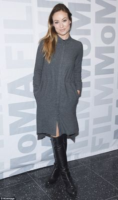 Chic: Olivia Wilde wore a grey dress and black boots as she attended a screening of her film Meadowland at the MoMA on Tuesday