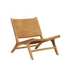 Flat Leather Marlboro Chair - Teak & Tan