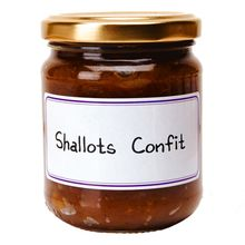 SHALLOT CONFIT $10.90 This flavorful shallot confit is perfect on small toasts or with a cheese plate. It will also put a refined touch to your dishes. Contains no coloring agents or preservatives.  L'Épicurien, run by master jam maker Bernard Le Gulvout, combines fruit quality, traditional methods and creativity to make amazing jams, confits and chutneys.  210 grams / 7.4 oz