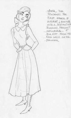 Anya/Anastasia - Concept art/character design (pencil) - 20th Century Fox - Anastasia