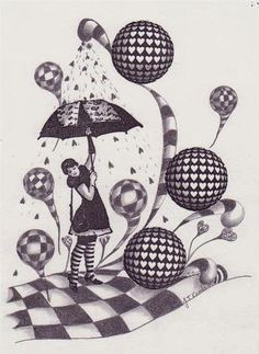 Zentangle umbrella girl