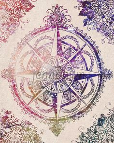 compass rose print travel poster wanderlust gypsy hippie 8 x 10 PRINT celestial colorful wall art