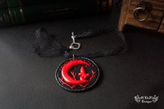 Fimo polymer clay Fairy and moon goth fantasy pendant - pinned by pin4etsy.com