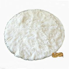 Fur Accents Classic Round Sheepskin Rug  Shaggy Off White Faux Fur 5 Ft Diameter * Click on the image for additional details.