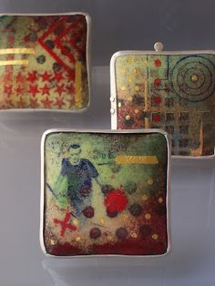 """Enamel on Copper - white metal frames The theme for this series of work is """"Urban"""" My """"u rban """" pieces are intended to relate to the ever..."""