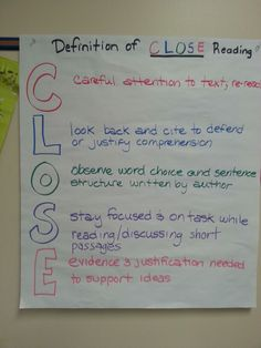 Close reading explaination for students.