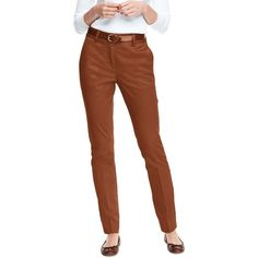Lands' End Women's Petite Mid Rise Chino Straight Leg Pants ($59) ❤ liked on Polyvore featuring pants, brown, straight leg trousers, lands end pants, brown stretch pants, brown pants and lands' end