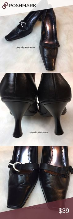 BCBG flex black leather heels w/ silver hardware Just reduced! Gorgeous soft supple black leather flex/comfort style heels with engraved faux buckle on decorative strap. Good condition with minor creasing/light wear. Please read my updated bio regarding closet policies prior to any inquiries. BCBGirls Shoes Heels