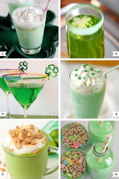 Green drinks for St. Patrick's Day - fun and festive recipes for adults AND kids! the Key Lime Pie Smoothie sounds yummy!