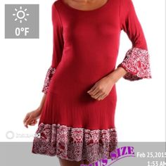 """HP 3/28SASSY LITTLE DRESS w/BEAUTIFUL TRIM This dress has that Flamingo, Moroccan or SOMETHING going on! Love the swishy skirt!  95% polyester/5% spandex. Cute as it can be. Made in the USANWOT. PLEASE DO NOT BUY THIS LISTING! I will personalize one for you. RED OR BLACK. RUNS SLIM.♦️Black sold out in 3X. 1X: 40-38-48"""" tla2 Dresses"""