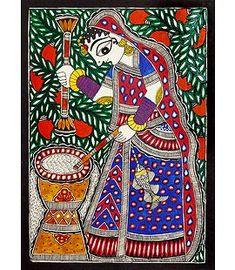 Madhubani Paintings Peacock, Madhubani Art, Indian Art Paintings, Cute Doodle Art, New Rangoli Designs, Indian Folk Art, Krishna Painting, Traditional Paintings, Mural Painting