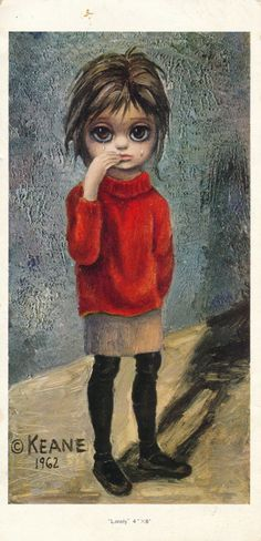 "Items similar to Big Eyes - Walter Keane - ""Lonely"" Postcard - Signed by The Infamous Walter Keane - on Etsy Big Eyes Margaret Keane, Keane Big Eyes, Margareth Keane, Keane Artist, Walter Keane, Big Eyes Paintings, Big Eyes Artist, Nashville, Weird Pictures"