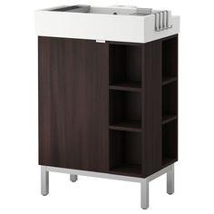 LILLÅNGEN SinK cabinet/1 door/2 end units - black-brown - IKEA