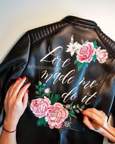 Bridal jacket by Painting Leather, Boho Bride, Women Life, Leather Skirt, Bomber Jacket, Hand Painted, Tote Bag, Bridal Jackets, Collection