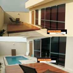 Funcional o Deck de madeira deslizante cobre toda piscina ,para oferecer mais espaço no ambiente de lazer quando não estiver em uso a piscina.