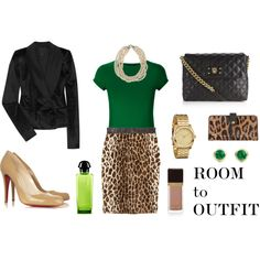 kelly green and leopard...i never would have thought to put those two together!