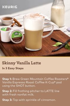 This Skinny Vanilla Latte recipe, made with Green Mountain Coffee Vanilla Espresso Roast Coffee K-Cup pod, means you can enjoy a tasty morning treat in a lower calorie beverage. Craft your own with the new K-Cafe brewer! Coffee K Cups, Coffee Drinks, Coffee Coffee, Coffee Maker, Coffee Enema, Espresso Coffee, Coffee Tables, Latte Maker, Coffee Americano