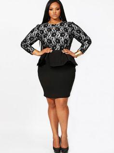 Isabel Lace Peplum Dress - Monif C - Plus Size