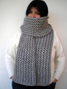 Grey Ivy Scarf Soft Alpaca Wool Big  Neckwarmer by GiuliaKnit, $75.00