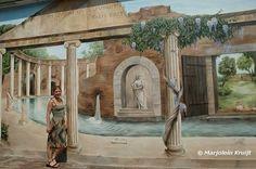 Muurschildering romeinse tuin