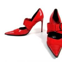 Dior cherry red stretch Stilettos $145