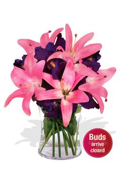 'Twilight' - the darkness at Dusk is represented in the purple Iris flowers & the lightness at dawn in the pink Asiatic Lilies