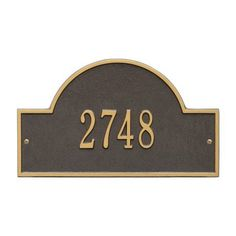 Personalized Whitehall Products Standard Wall One Line Arch Marker Address Plaque in Bronze Gold
