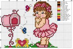 Boneca Small Cross Stitch, Cross Stitch Designs, Stitch Doll, Baby Mouse, Minnie, Sweet Girls, Cross Stitching, Children, Kids