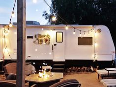 A family of five live comfortably and stylishly in a freshly renovated 180-square-foot camper.