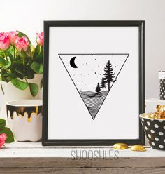 Triangle Nature Print Forest trees Wild Life Nature by shooshles#campvibes #camping #forest #wild #wildlife #bewild #artist #artwork #etsy #etsyshop #etsyseller #printableart #trees #night #stars #moon #nature #natureprint #drawing #illustration #black #ink #blackink #blackandwhite #line #lineart #nightnature #geometric #geometryprint #minimalist #minimalism #minimalistprint #minimalistprintable #decor #home #homedecor #decorwallart #wallartprint #decorprint #minimalistart #doodle #doodleart