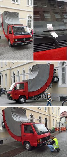 An illegally parked art installation in Karlsruhe, Germany was ticketed for 30 euro. The bent red Mercedes MB100D truck is the work of Austrian artist Erwin Wurm, who is famous for his distorted-vehicle pieces.
