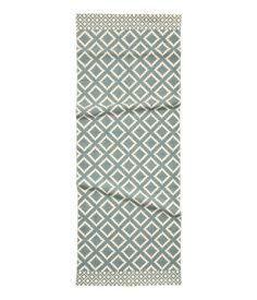 Mønstret gulvteppe i bomull | Naturhvit/Gråblå | H&M HOME | H&M NO