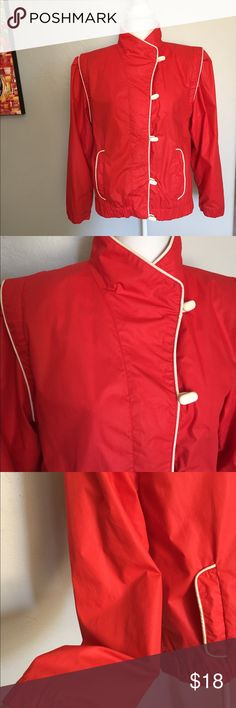 "Vintage 80s Red and White Jacket This coat is so cute. Chinese inspired (made in Hong Kong) this is signature 80s style with folds at shoulders. Dirt cuffs and stain on inside collar. No size listed. Fits me, I'm a 10/12. Armpit to armpit 20"" Vintage Jackets & Coats Utility Jackets"