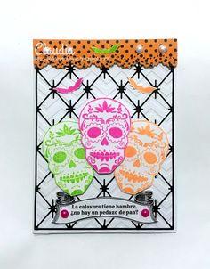 Intercambio de Halloween en Creaciones Izzy - Tarjeta terrorifica - Bo Bunny Fright Delight Clear Stamp.