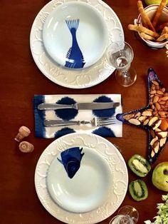 par de pratos jantar peixe, prato em cerâmica com ilustração de peixes