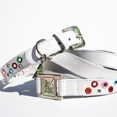 Need a white collar or th dye stains white dog's hair when it gets wet outside! Loki Puppy Leather Dog Collar and Leash Set - Radiant White. $49.99, via Etsy. A little high end!
