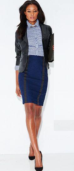 The 7th Avenue Jacquard Pencil Skirt with ribbon trim.