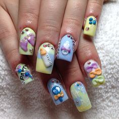 My baby shower baby boy nails. Done by nails on midvale Utah Cute Nail Art, 3d Nail Art, 3d Nails, Love Nails, How To Do Nails, Nail Arts, Baby Boy Nails, Baby Shower Nails, Baby Boy Shower