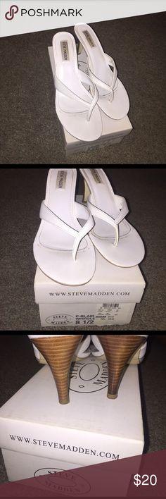 White sandal heels Steven madden white sand heels. Slightly worn in box. Steve Madden Shoes