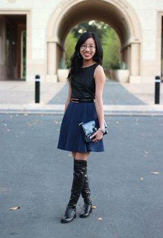 BLACK AND NAVY / 3.1 Phillip Lim for Target skirt and leather everywhere (Stuart Weitzman 5050 OTK boots)