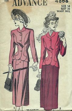 Vintage 1940's -This pattern is partially CUT and complete with instructions. Pattern is unprinted. Envelope is discolored; small stain on the front. SEE PHOTOS FOR ENVELOPE CONDITION AND MEASUREMENTS.