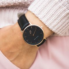 The Bronte. JT Watches. Australian watch label. Rose Gold, black face and black stitched leather. Women's watches. Swiss movement.